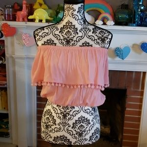 Strapless pink top with pom poms forever 21 size s